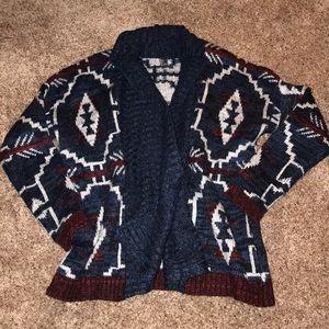 Aztec patterned cardigan sweater